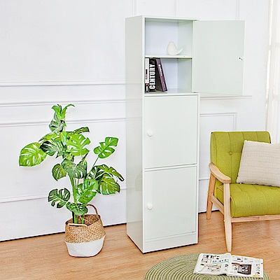 Birdie南亞塑鋼 1.5尺三門塑鋼收納櫃 白色 43.5x40x168.5