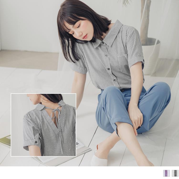 高含棉配色條紋後綁帶前短後長短袖襯衫