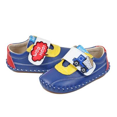Swan天鵝童鞋-WooHoo砂石車圖案學步鞋1550-藍