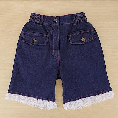 愛的世界 彈性鬆緊帶愛幻想女孩蕾絲牛仔短褲