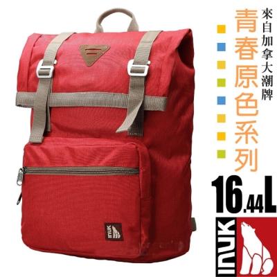【加拿大 INUK】青春原色 潮牌人體工學避震背負後背包16.44L_紅色