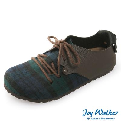 Joy Walker 休閒撞色拼接綁帶包鞋* 綠格紋