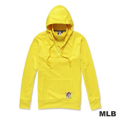 MLB-匹茲堡海盜隊假兩件帥氣立領連帽LOGO印花厚T恤-黃色(男)