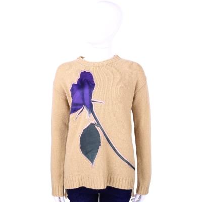 Max Mara-SPORTMAX 駝色紫花羊毛針織上衣