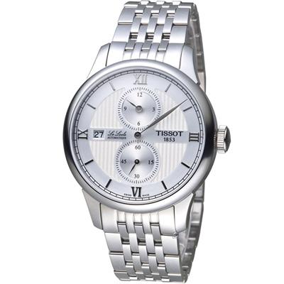 TISSOT LE LOCLE 力洛克三針一線自動機械錶-白/40mm