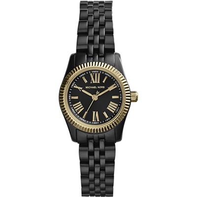 Michael Kors 羅馬時尚腕錶-黑x金框/26mm