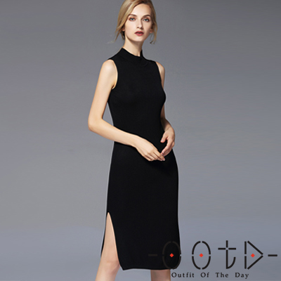 純色小高領開衩針織背心裙 (共二色)-OOTD