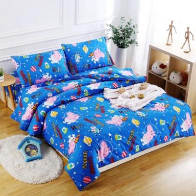 Peppa Pig  太空喬治  加大3M吸濕排汗專利技術親膚舒柔床包枕套三件組