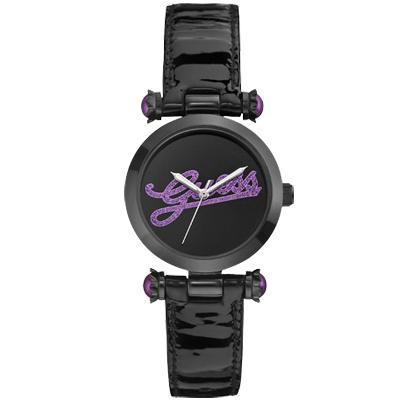 GUESS 浮華摩登漆靚時尚腕錶-黑紫/33mm