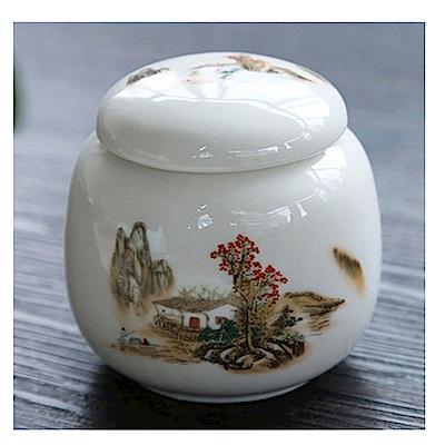 原藝坊 陶瓷密封一兩小茶罐(漁舟唱晚)