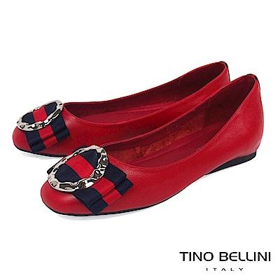 Tino Bellini 特殊環飾MIX雙色寬版蝴蝶結娃娃鞋_ 紅