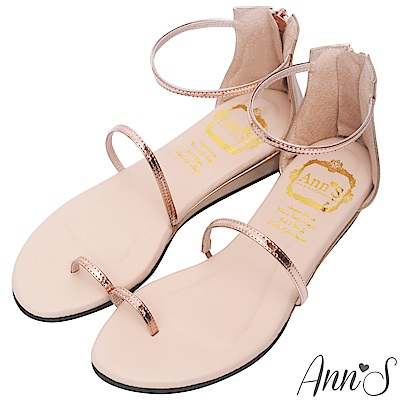 Ann'S 極致舒適仙女光澤顯瘦坡跟涼鞋 玫瑰金