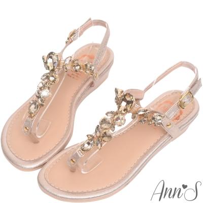 Ann'S 華麗訂製T型水鑽寶石小坡跟夾腳涼鞋