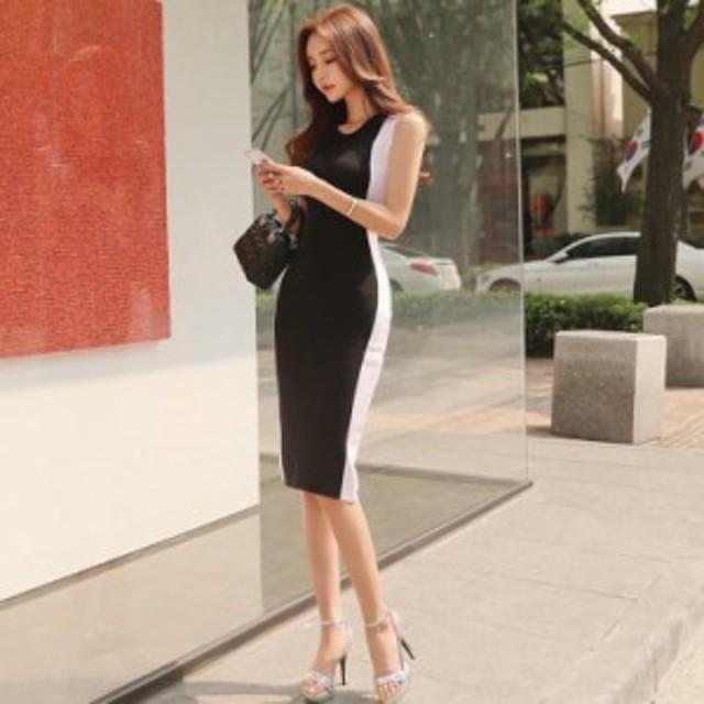 2019 夏 ペンシルスカート くびれ  着痩せ ドレス ワンピース ブラック タイト ブラック ホワイト ライン 綺麗め ノースリーブ 韓国 アイ
