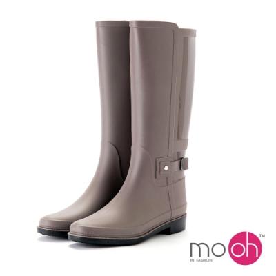 mo.oh愛雨天-素面簡約拼接皮帶扣長筒雨靴-卡其棕
