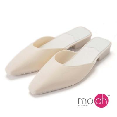 mo.oh-防水方頭香水果凍穆勒包頭拖鞋-奶油白