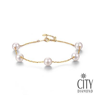 City Diamond引雅【東京Yuki】18K日本AKOYA珍珠5顆6.5mm手鍊