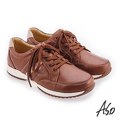 A.S.O 阿瘦 3D超動能 雙皮革配色休閒鞋 咖啡 10014000327-55
