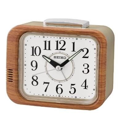 SEIKO 精工 響鈴 靜音滑動式秒針 鬧鐘(QHK046B)白/8.8X10.9cm