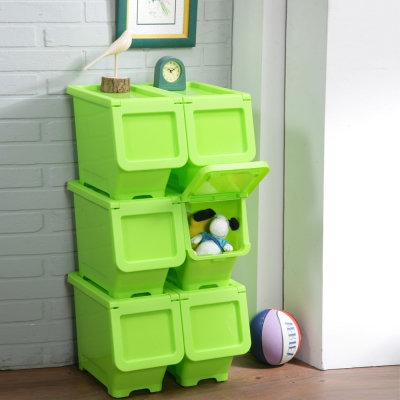創意達人馬卡龍輕鬆取可疊式收納箱(16L)6入