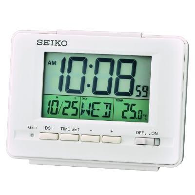 SEIKO 日本精工 電子鐘 溫度/日期(QHL078W)-白/9.4X12.3cm