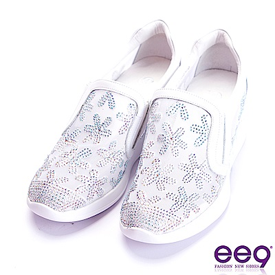 ee9 經典手工電繡鑲嵌水鑽內增高休閒鞋 白色