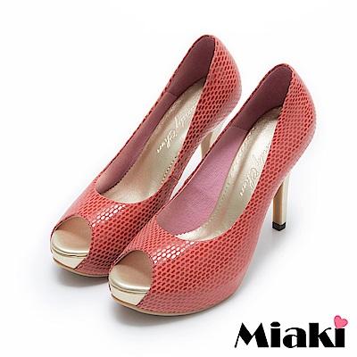 Miaki-MIT魚口鞋真皮復古女伶露趾高跟鞋-紅