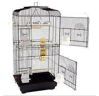 純白新鳥籠群鳥籠鸚鵡籠 繁殖籠(配中隔網+玩具) 鳥屋超大號鳥籠賣鳥店必備款可拆鳥籠黑色鳥籠鳥房子二層籠