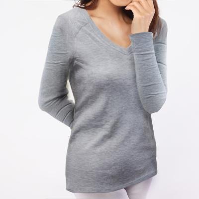 保暖衣 輕薄保暖款台灣研發保暖纖維 女V領麻灰色TiNyHoUse