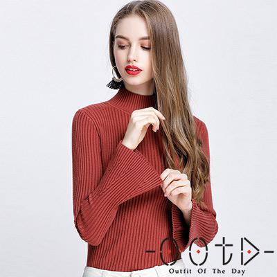 半高領坑條喇叭袖針織上衣 (共五色)-OOTD