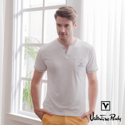 Valentino Rudy 范倫鐵諾.路迪 吸濕排汗冰涼機能T恤衫-白色-V領口袋