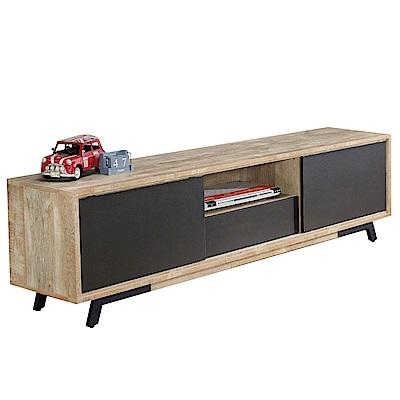 品家居 維文6尺木紋雙色長櫃/電視櫃-181x40x50cm免組