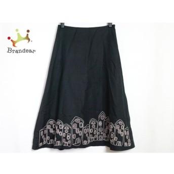 ホコモモラ ロングスカート サイズ40 XL レディース 美品 黒×アイボリー×ピンク 刺繍 値下げ 20190916