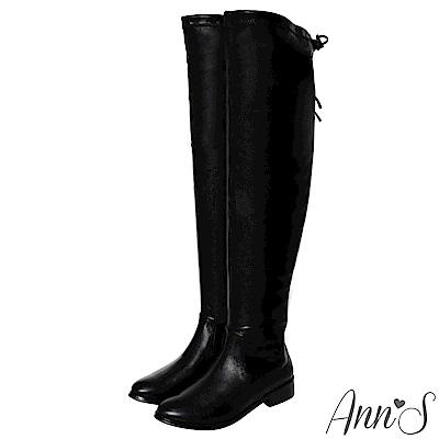 Ann'S 棉花糖版 微性感平底彈力側拉鍊過膝靴  羊紋黑