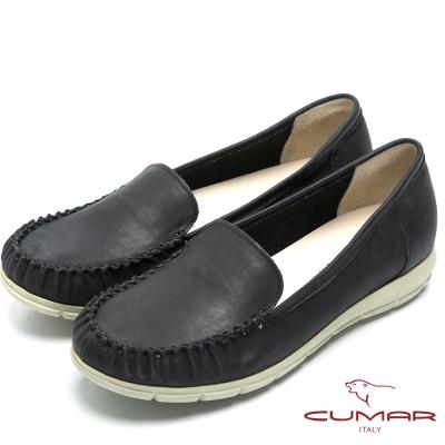 CUMAR經典百搭 舒適真皮超輕平底包鞋-黑色