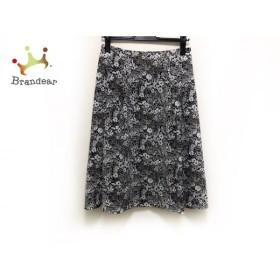 アマカ AMACA スカート サイズ38 M レディース 新品同様 黒×白×イエロー LIBERTY/花柄 新着 20190618