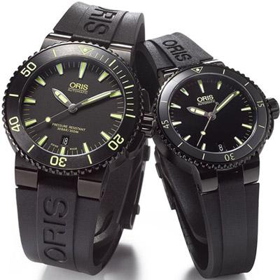 Oris Aquis 時間之海中型潛水機械對錶-鍍黑x黃/43+36mm