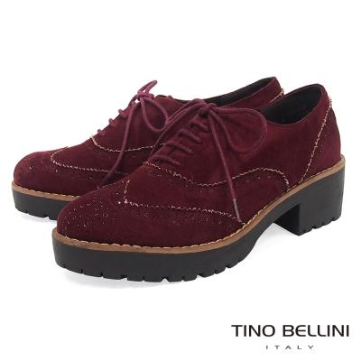 Tino Bellini 英倫學院厚底中跟牛津鞋_ 酒紅