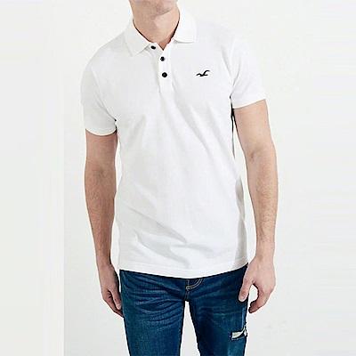 海鷗 Hollister 經典電繡海鷗標短袖Polo衫-白色