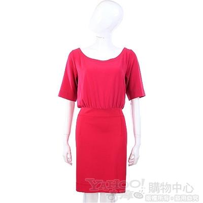 MOSCHINO 桃紫色拼接短袖洋裝