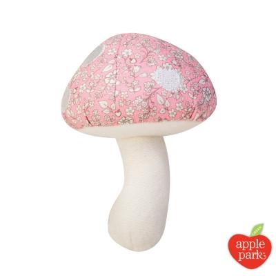 美國 Apple Park 有機棉 蘑菇搖鈴啃咬玩具 - 粉紅花瓣
