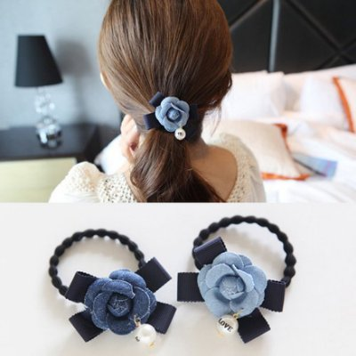 韓國流行髮飾 牛仔色 山茶花造型布質玫瑰花朵 髮圈髮束髮繩 N660