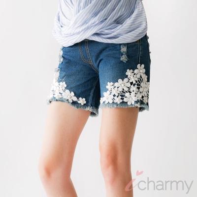 愛俏咪I charmy花邊蕾絲鉚釘刷破實搭腰圍彈性牛仔短褲