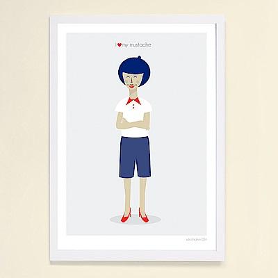 摩達客 西班牙知名插畫家Judy Kaufmann創作版畫掛畫-我愛我鬍子