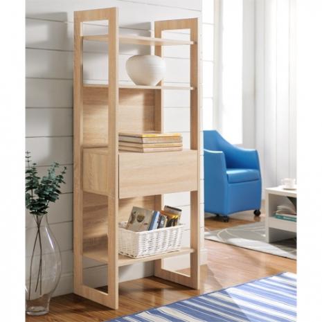 特賣↘【德萊妮】DIY附抽屜挑高四層架/書櫃/展示櫃/隔間櫃(淺橡色)