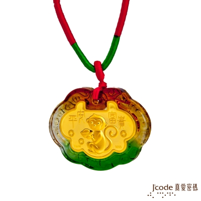 J code真愛密碼金飾 平安富貴猴黃金彌月木盒-0.1錢