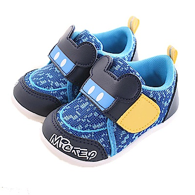魔法Baby迪士尼米奇 休閒魔鬼氈寶寶鞋 藍 sk0229