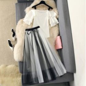 セットアップ レディース ブラウス ロングスカート マキシスカート プリーツスカート 大きいサイズ 春 夏 ロング 柄 黒 Aラインスカート