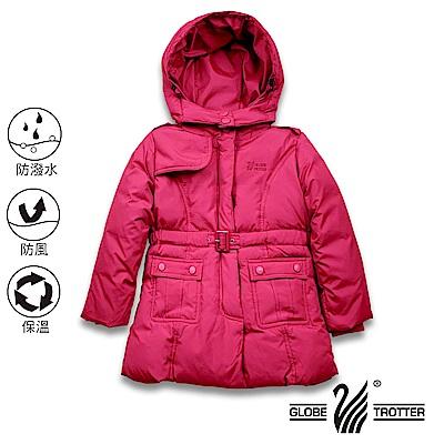 遊遍天下 童款中長版防風防潑水90%羽絨可拆連帽外套 GJ22016 玫紅
