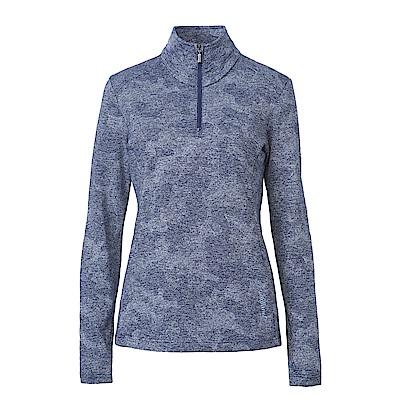 Wildland荒野女彈性雙色緹花保暖上衣藍
